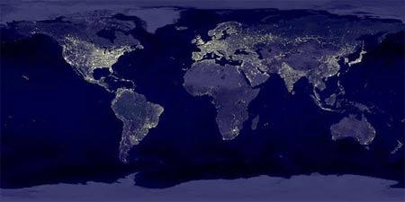 Земля ночью. © NASA